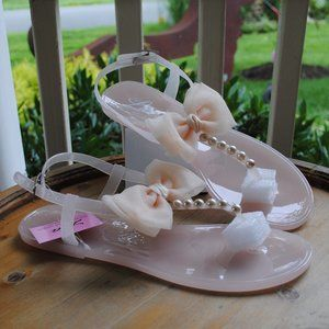 NWT NIB Jelly Sandal BEIGE Pearls Fabric Bows